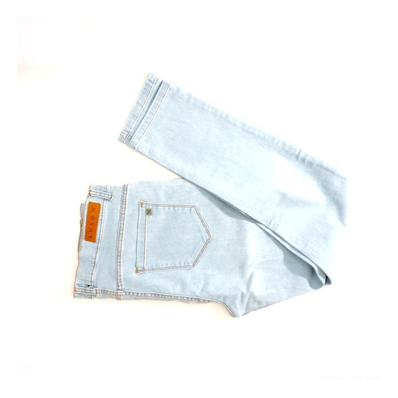 Pantalón Jeans Luxo Maltinto Celeste Liso Rotura Chupin Liso