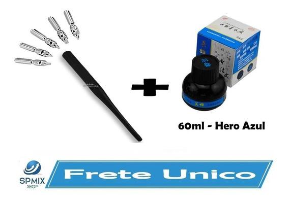 Kit Caligrafia Cabo Com 5 Penas + Tinta Hero 60ml