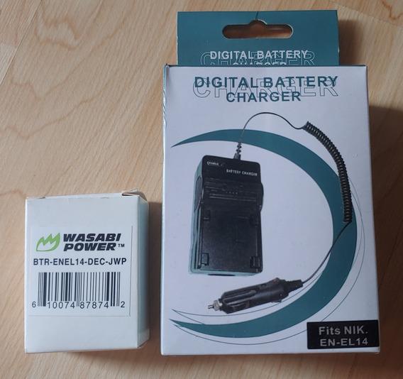 Cargador Para Baterías Nikon En-el14 + Batería Wasabi Power!