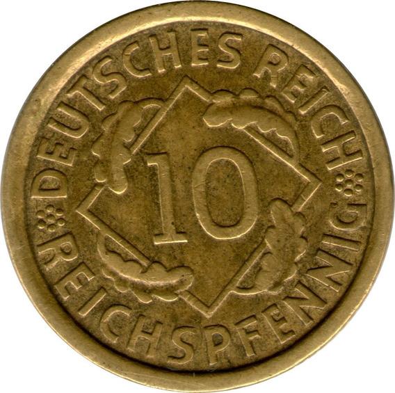 Spg Alemania ( Weimar ) 10 Reichspfennig 1935 J