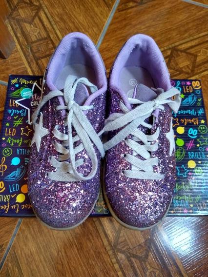 Zapatillas Footy Luz Led Y Usb Estrella Glitter Fty