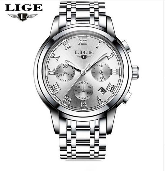 Relógio Lige Prata Pulseira De Aço 42mm Frete Grátis