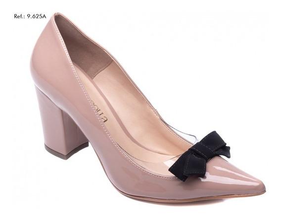 Sapato Feminino Scarpin Salto Bloco Baixo Verniz Rosê