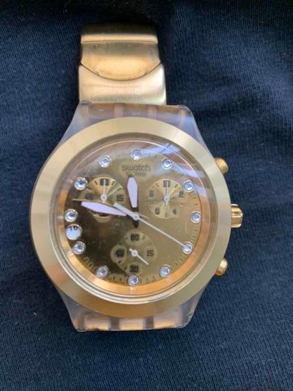 Relógio Swatch, Fashion, Dourado.