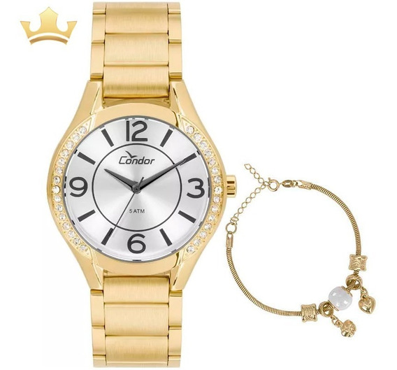 Kit Relógio Condor Feminino Co2035krg/k4k C/ Garantia E Nf