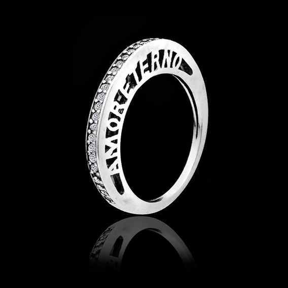 Anel Meia Aliança Amor Eterno Cravejado Zircônias Prata Maciça Legítima 925 ( Prata De Lei )