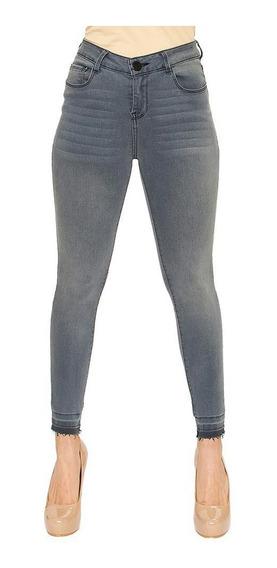 Pantalón Dama Mujer Jeans Moda Casual Skinny Gris Comodo