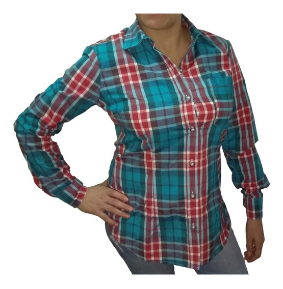 Camisa Cuadros Escocesa Mujer Entallada