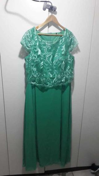 Vestido De Festa Longo Cor Tiffany Tamanho 48
