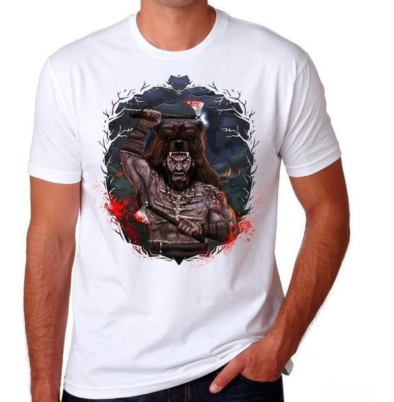 Camiseta Berserker Colorido Branca Camisa Algodão Premium