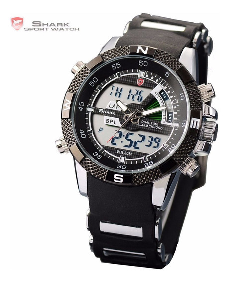 Relogio Shark Esportivo Porbeagle Sh042 Pronta Entrega Inox