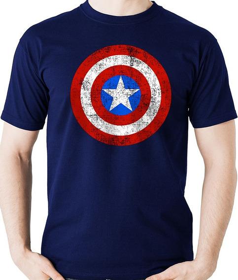 Camiseta Escudo Capitão América Heroi Camisa Blusa