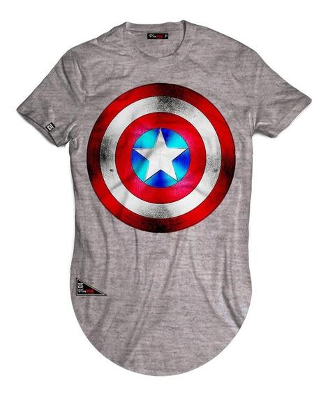 Camisetas Longline Over Escudo Capitão América Alongadas