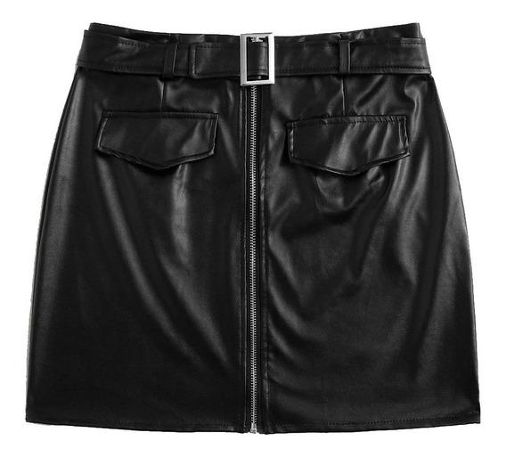Falda Negra Tipo Cuero Con Cinturón Y Cremallera Bonita