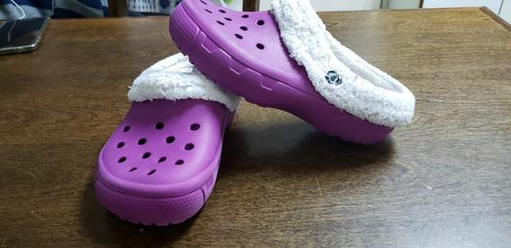 Crocs Originales Con Abrigo Talle J 2 Usadas Excelente Estad