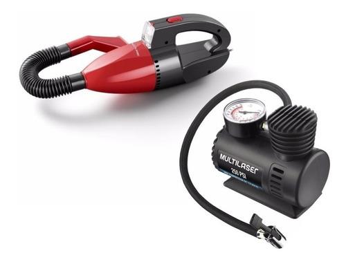 Aspirador De Po Agua Automotivo + Compressor 12v Multilaser