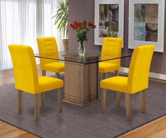 Mesa De Jantar Vegas 04 Cadeiras Cozinha Linda Luxo Dobuê Cc