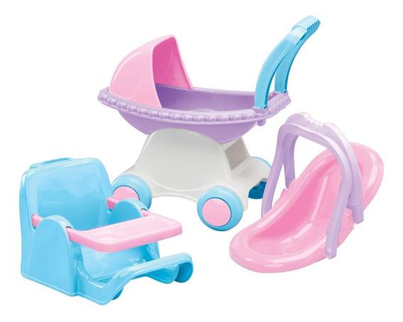 Set 3 Piezas Cochecito Y Silla - American Plastic Toys