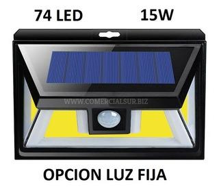 Reflector Led Solar 74 Led 15w Sensor Mov C/ Opcion Luz Fija