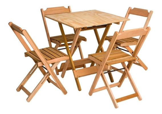 Jogo De Mesa 70x70 Com 4 Cadeiras Dobrável Em Madeira