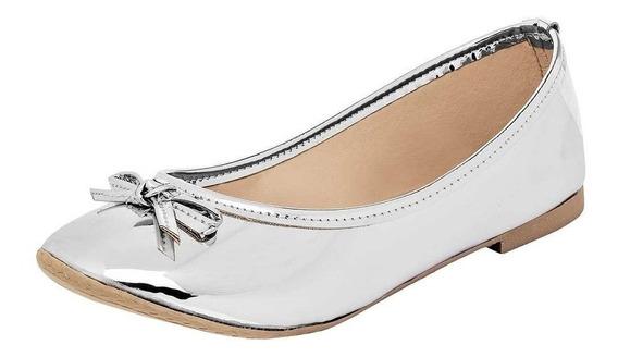 Zapato De Piso Flats Dama Sexy Girl 3007 Plata 25-26 T3