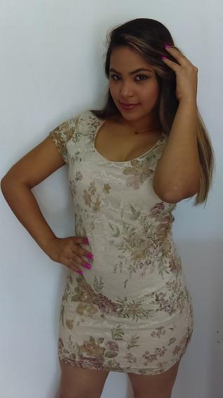 Vestido Beis Corto De Encaje Con Flores Lila Y Verde Talla M