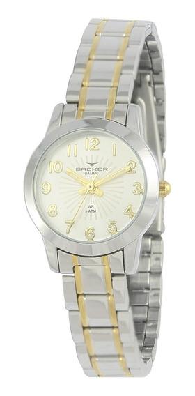 Relógio Feminino Backer Analógico 10258134f Prata/dourado