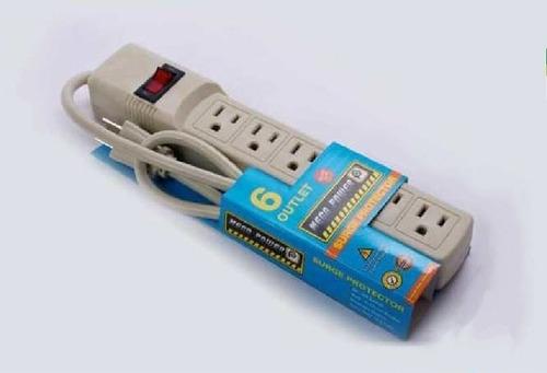 Regleta Eléctrica Con 6 Salidas Y Protector Original