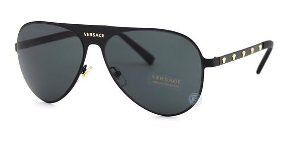 Lentes Versace 2189 142587 Matte Black Grey Aviador Original