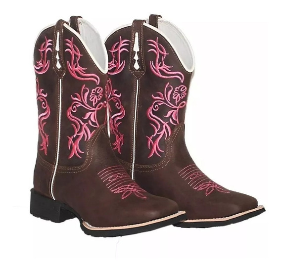 Bota Texana Country Feminina Tribal Rosa 34 Ao 41