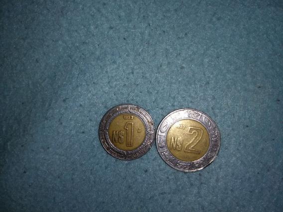 Moneda De 2 Pesos Y 1 Peso (n$) Año 1993