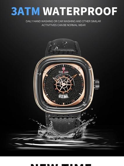 Relógio Quadrado Masculino Kademan Luxo Lançamento