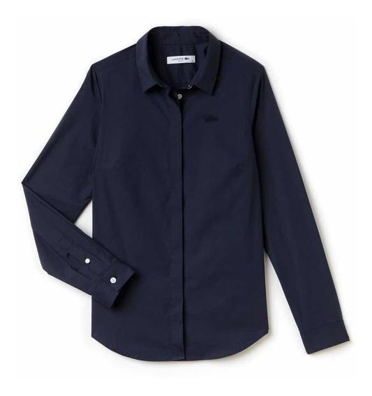 Camisa Lacoste De Dama Navy Blue Slim Fit Nueva Y Original
