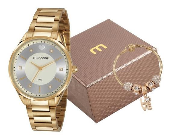 Relógio Mondaine Feminino Dourado + Pulseira Berloques