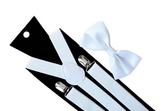 Set Humita (corbatin) + Suspensores Color Blanco Para Adulto