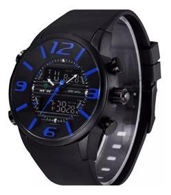 Relógio Masculino Weide Wh-3402-1 Anadigi Esporte Preto Azul