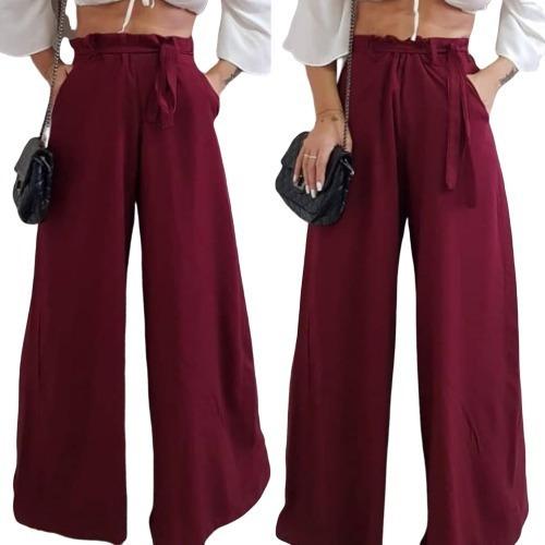 Calca Elegante Pantalona Lisa Elastico Cintura Tecido Leve