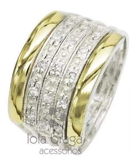 Anel Feminino Em Prata 950 Ouro 5 Elos Cravejado Zircônias