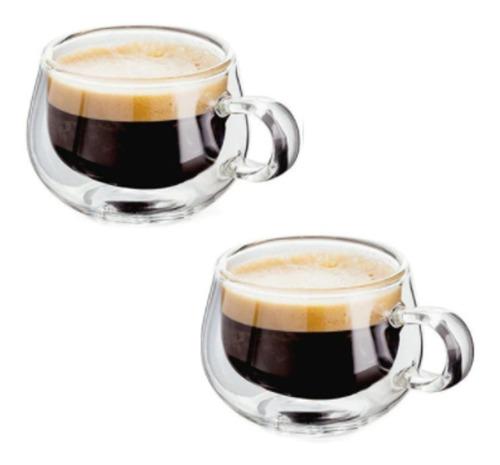 Imagen 1 de 5 de 2 Tazas De Vidrio Doble Pared Aislamiento C/ Asa Café Té Csp