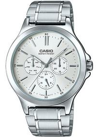 Reloj Casio Quartz Mtpv300 Plateado Unisex Fechador Full