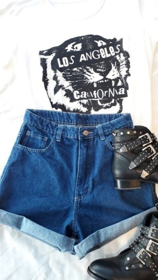 Short Mom Doble -azul Oscuro