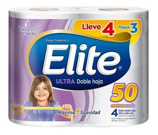 Papel Higienico Elite Ultra Doble Hoja 50 Mt 4x3 Unidades