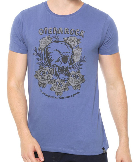 Camiseta Opera Rock Manga Curta Estampada Azul