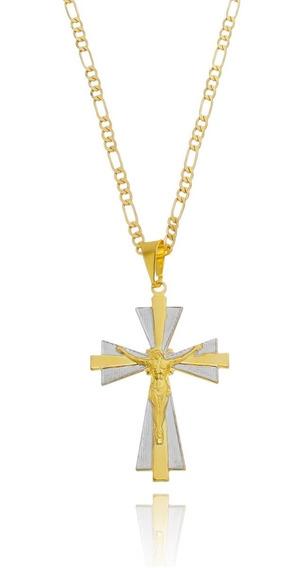 Colar Masculino Com Pingente Crucifixo Folheado A Ouro