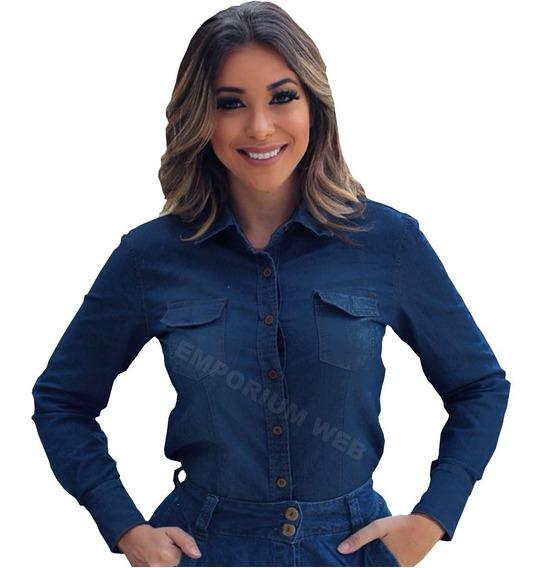 Camisa Jeans Feminina Plus Size Manga Longa Tamanho Grande