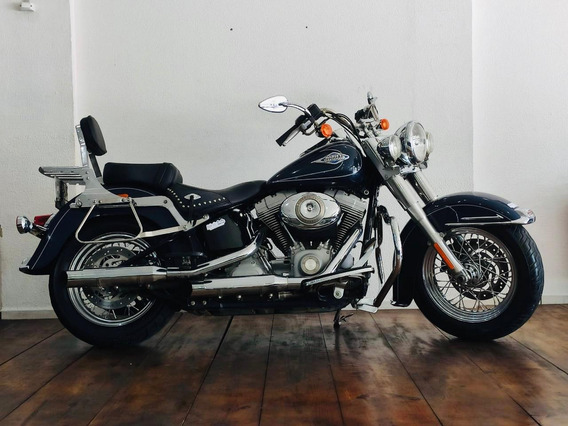 Harley Davidson Heritage Flst 1600 2009 Azul Custom Chopper