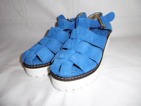 Sandalia Cuero Gamuza Azul 39 Franciscana Savage 1 Solo Uso