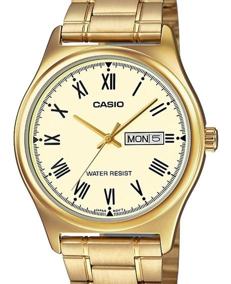 Relógio Casio Masculino Classico Dourado Mtp-v006g-9budf-br