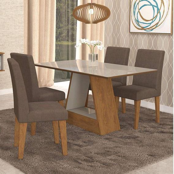 Sala De Jantar Mesa Alana Retangular 4 Cadeiras Milena Cimol