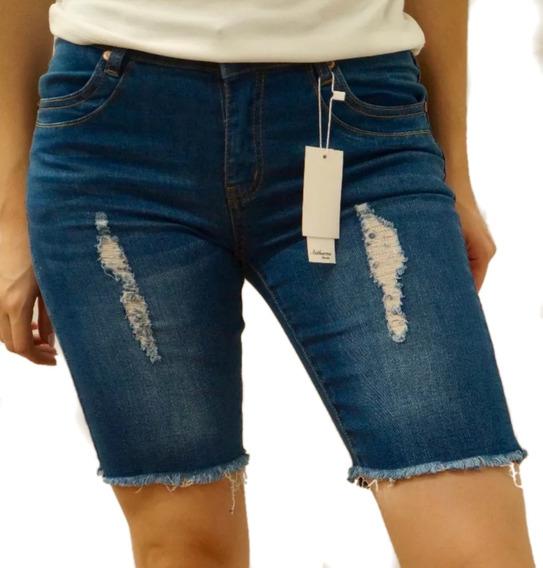 Bermuda Short Mezclilla Jeans Dama Authurna Denim An-d3021
